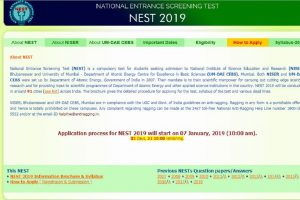 NEST 2019: Notification out at nestexam.in, check eligibility, examination fee, important dates here