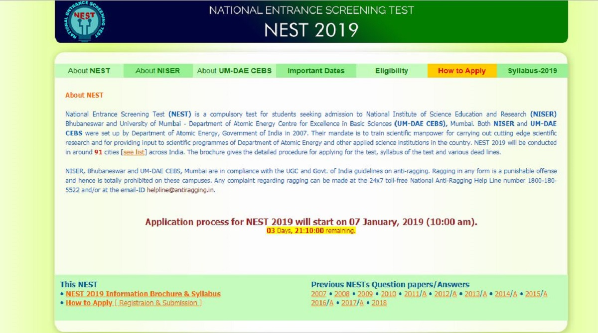NEST 2019, National Entrance Screening Test, nestexam.in, NEST 2019 notification