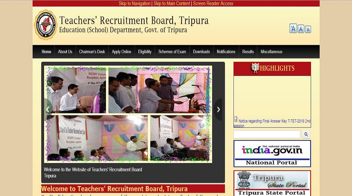 Tripura TET 2018, Teacher Recruitment Board Tripura, Tripura Teachers Eligibility Test 2018, Tripura TET answer keys, trb.tripura.gov.in