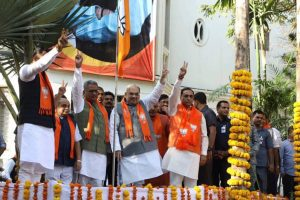 BJP leaders hoist party flag as part of campaign ahead of Lok Sabha elections