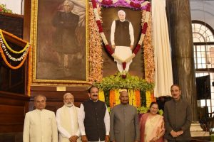 President Kovind unveils Atal Bihari Vajpayee's life-size portrait in Central Hall