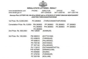 Karunya Plus KN 251 lottery results declared on keralalotteries.com | Kerala lottery results 2019