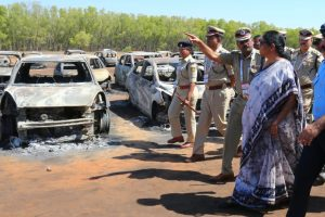Defence Minister Nirmala Sitharaman inspects fire mishap site near Aero India venue