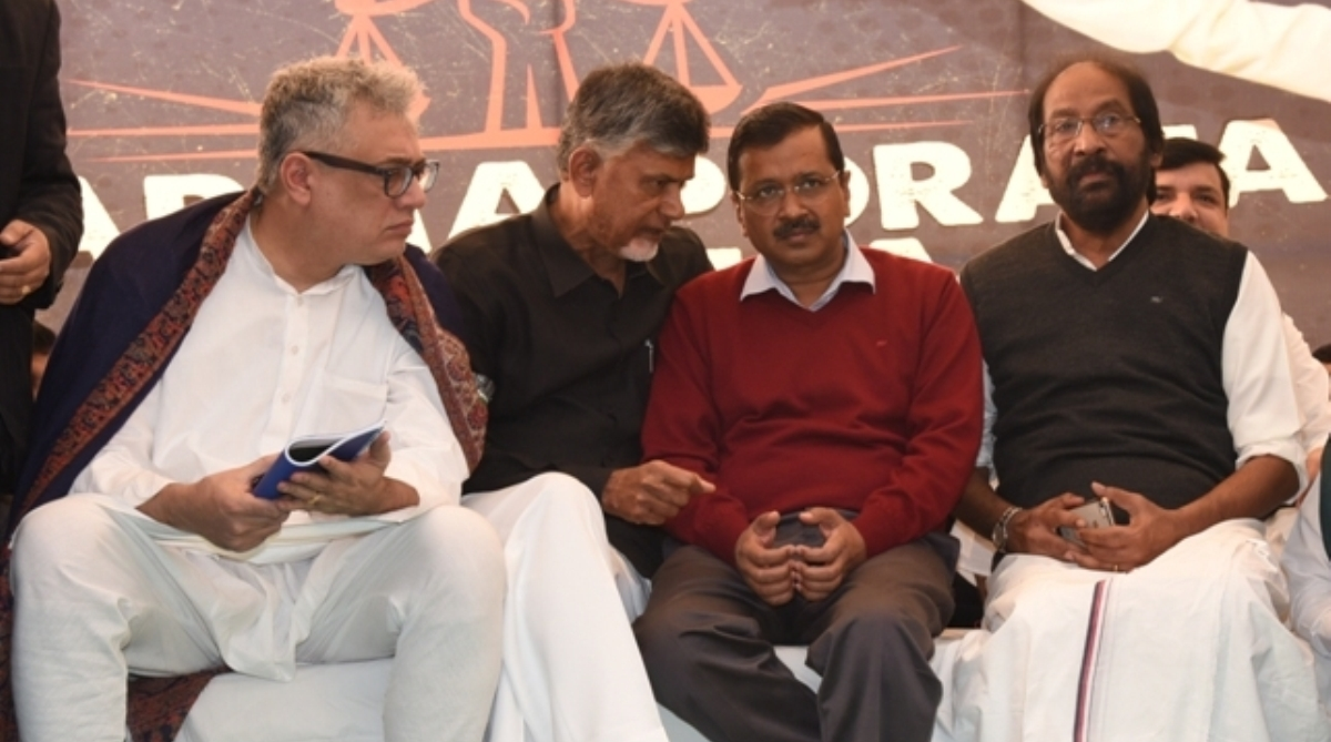 Derek O'Brien, Arvind Kejriwal, PM Modi, Chandrababu Naidu, Protest venue