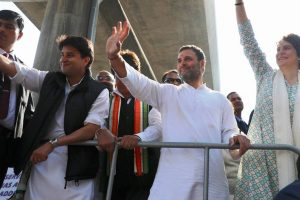 Priyanka, Jyotiraditya, Rahul blow the poll bugle with mega roadshow in Lucknow