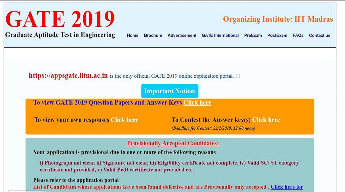 GATE 2019, GATE 2019 answer keys, gate.iitm.ac.in, IIT Madras