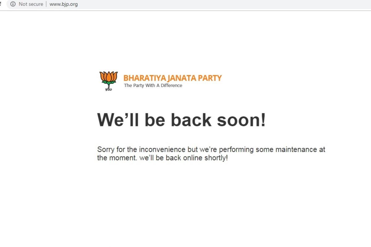 Hacking attempt, BJP website, Maintenance, Narendra Modi