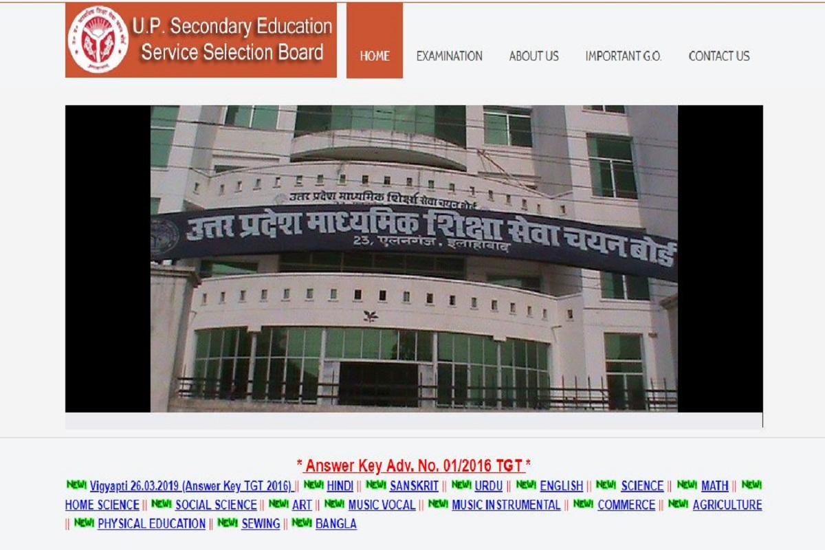 UPSESSB TGT answer key, UPSESSB answer key 2019, upsessb.org, U.P Secondary Education Service Selection Board