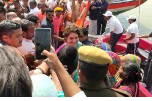 Priyanka Gandhi Vadra begins boat tour over River Ganga from Prayagraj