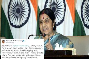 Forced conversion of Hindu girls: Sushma Swaraj slams Pakistan minister on Twitter
