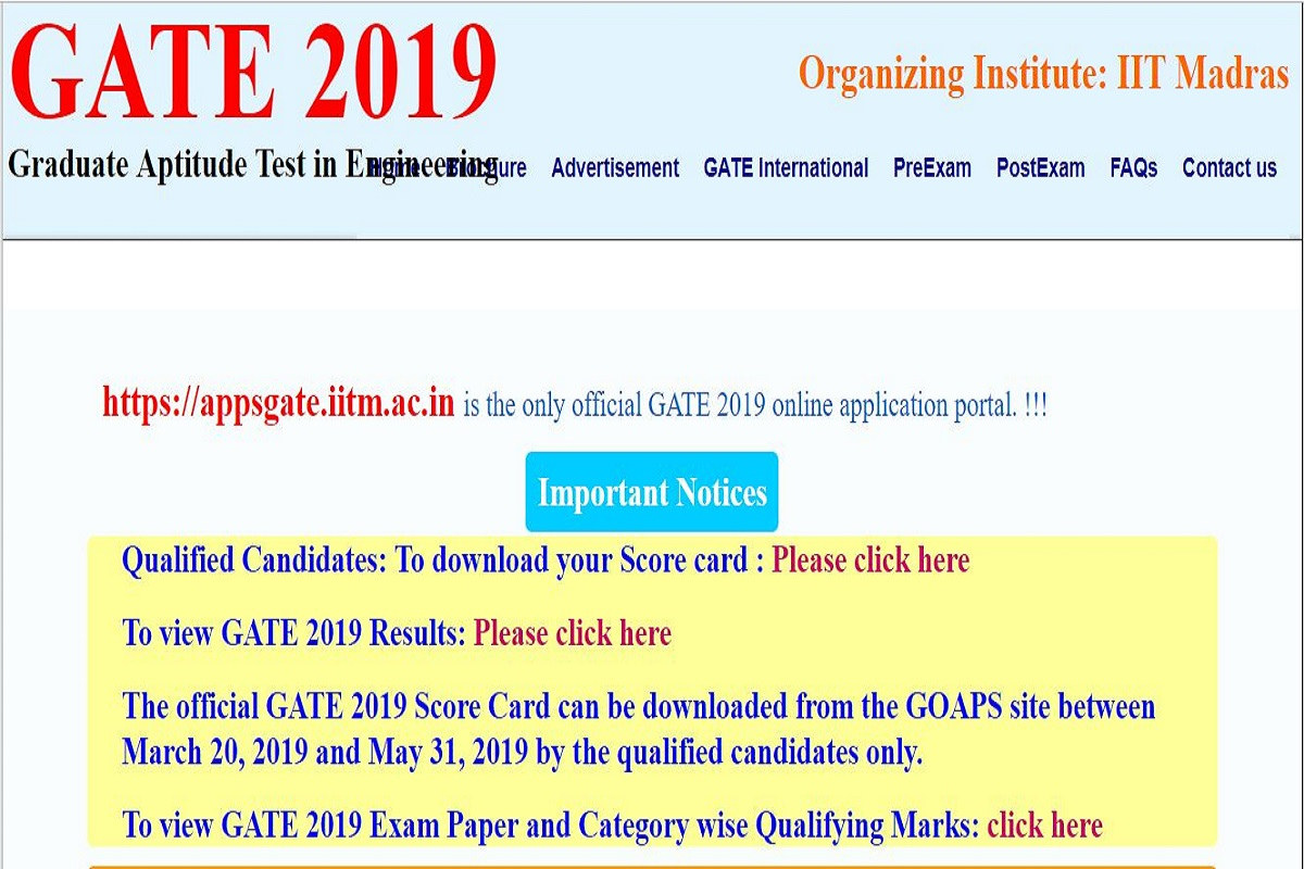 GATE 2019 scorecards released at gate.iitm.ac.in | Check now