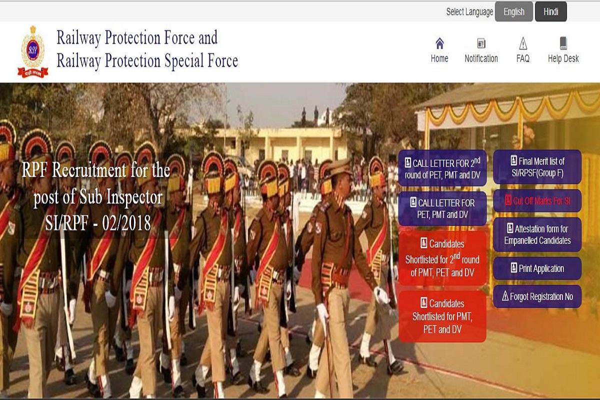 si1.rpfonlinereg.org, RPF SI examination, Group F merit list, RPF SI merit list, Railway Protection Force