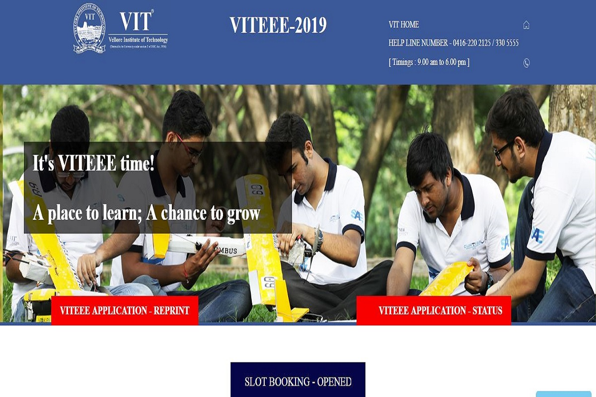 VITEEE 2019, Vellore Institute of Technology, vit.ac.in, VITEEE 2019 examination, VITEEE 2019 slot booking
