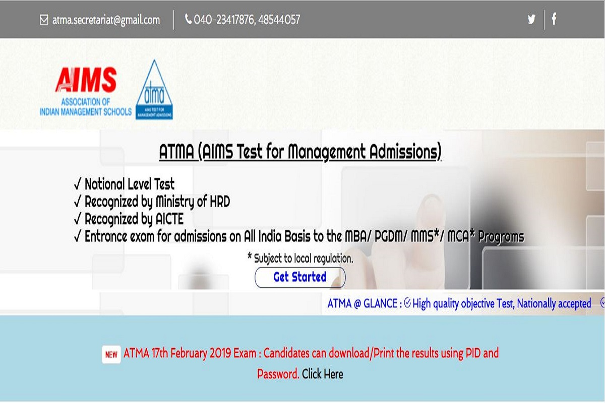 ATMA 2019 examination date preponed to May 18, register online till May 12 at atmaaims.com