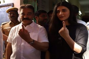 'Today is the day': MNM chief Kamal Haasan, daughter Shruti cast votes in Chennai