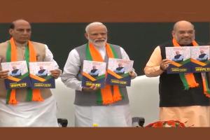 PM Modi, Amit Shah release BJP election manifesto