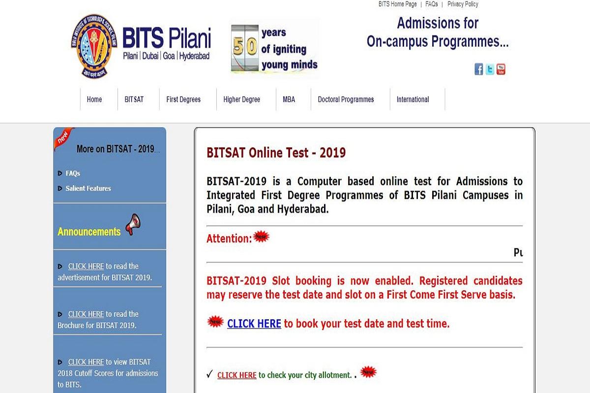 BITSAT 2019: Slot booking starts at bitsadmission.com, download admit cards from April 12