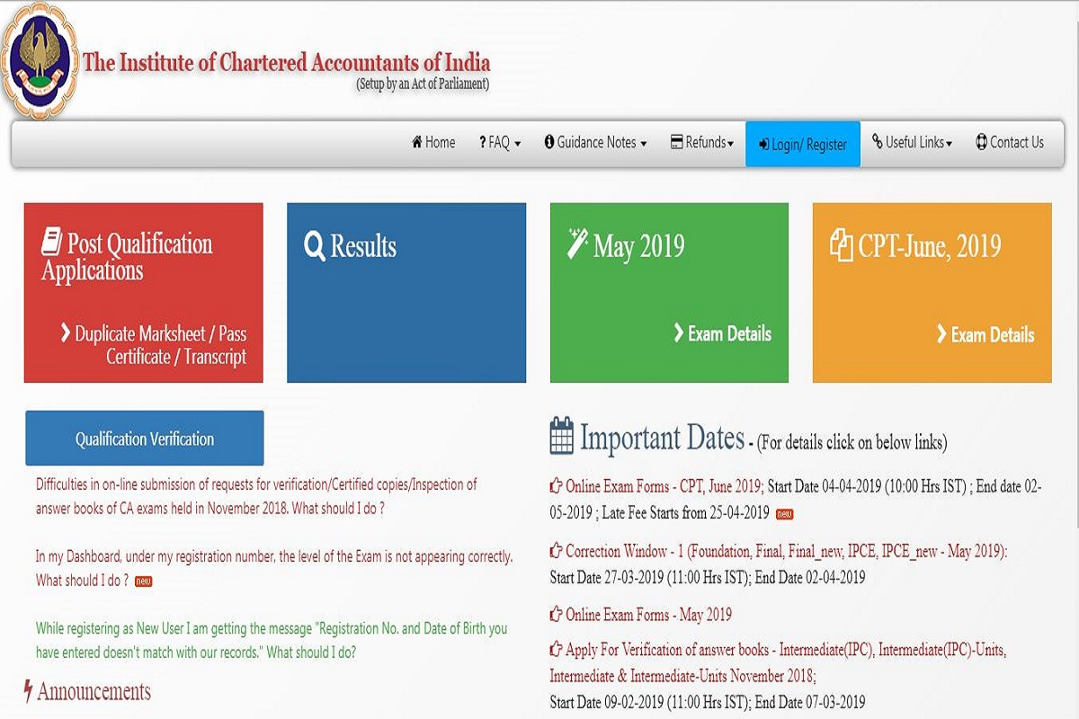 ICAI CPT 2019, ICAI CPT 2019 examination, Institute of Chartered Accountant of India, Common Proficiency Test, icaiexam.icai.org
