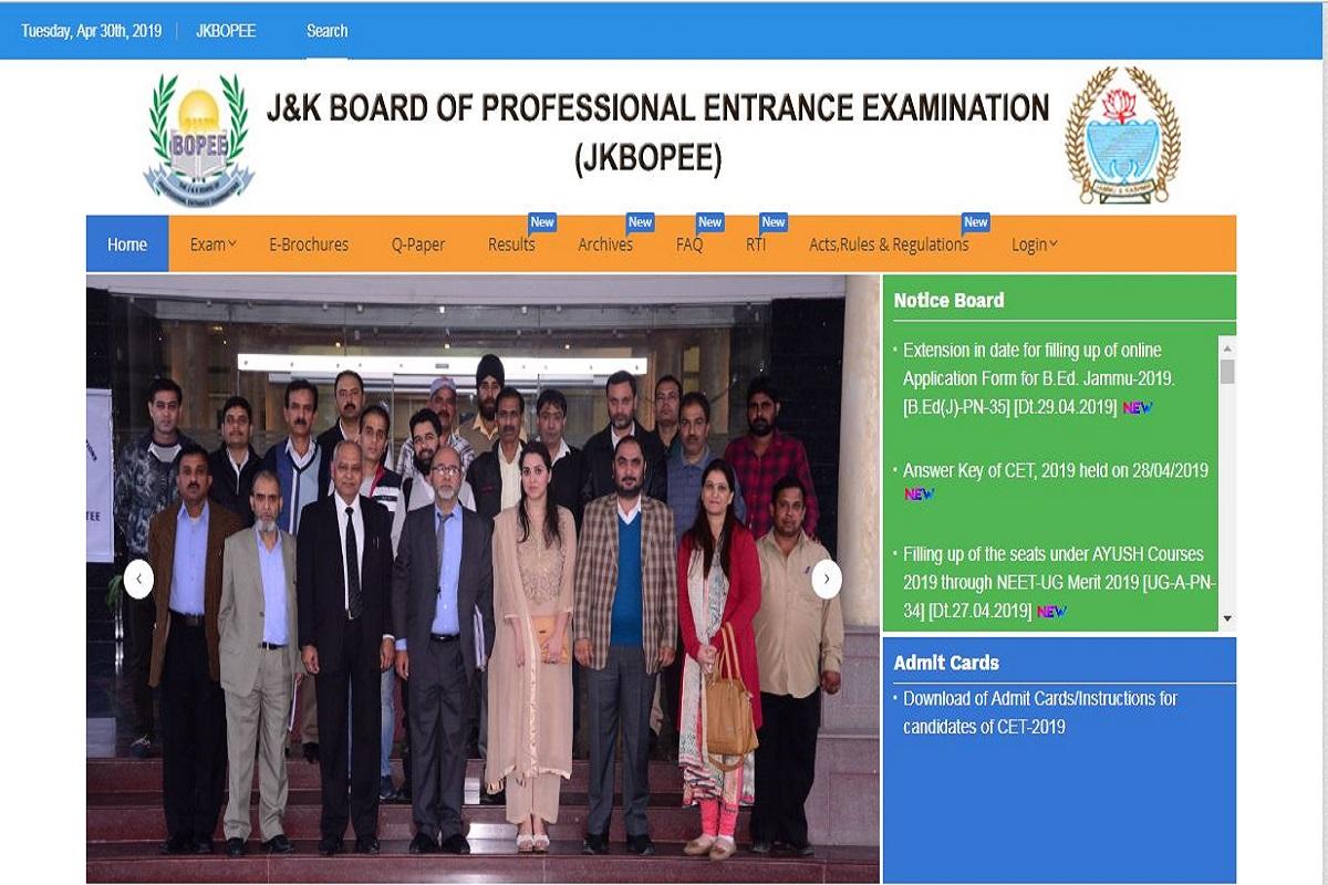 JKCET 2019 (Engineering) answer keys, JKCET 2019 examination, jkbopee.gov.in, Jammu and Kashmir Board of Professional Entrance Examinations