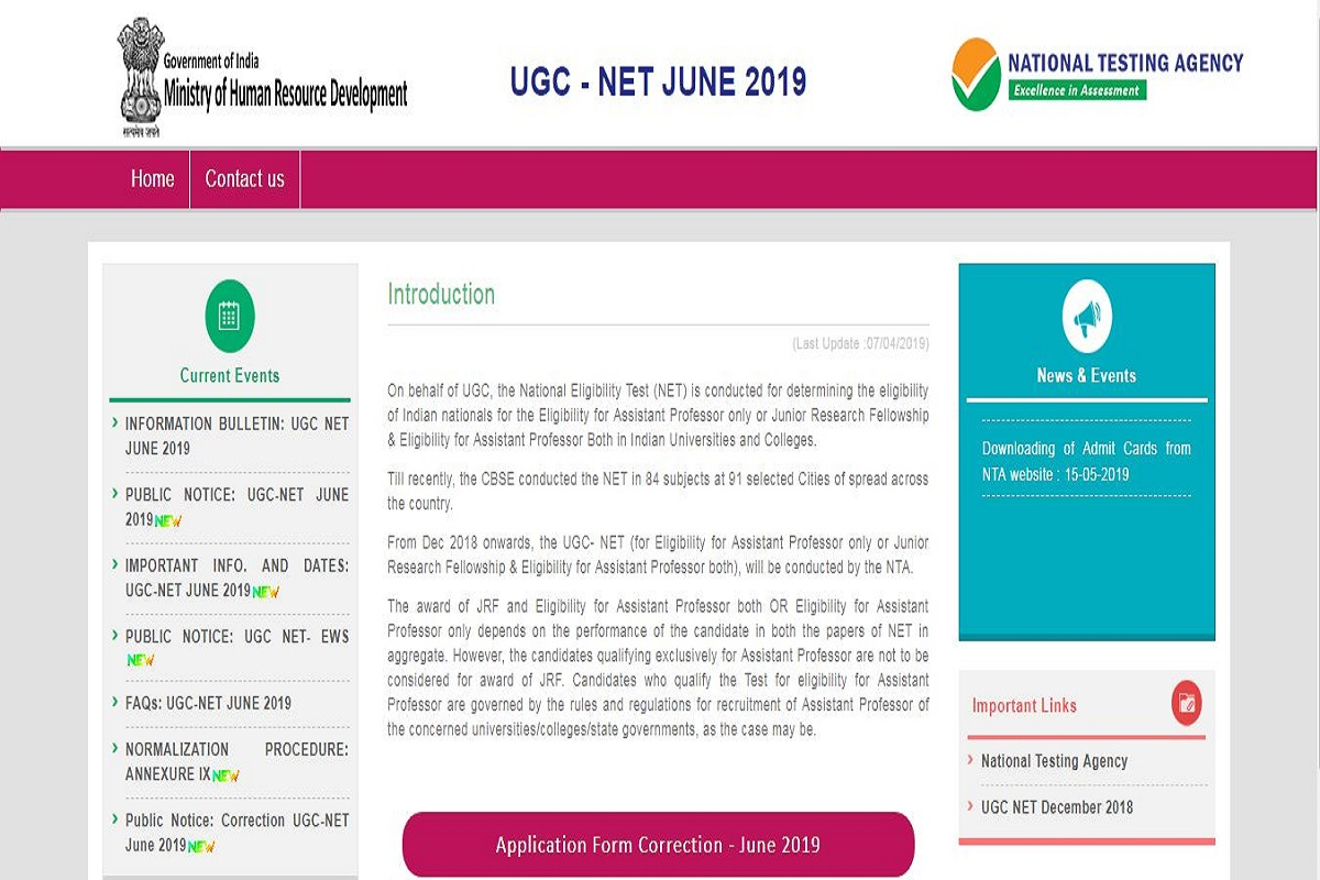 NTA UGC NET 2019 correction window open till April 14 at ntanet.nic.in, check all details here
