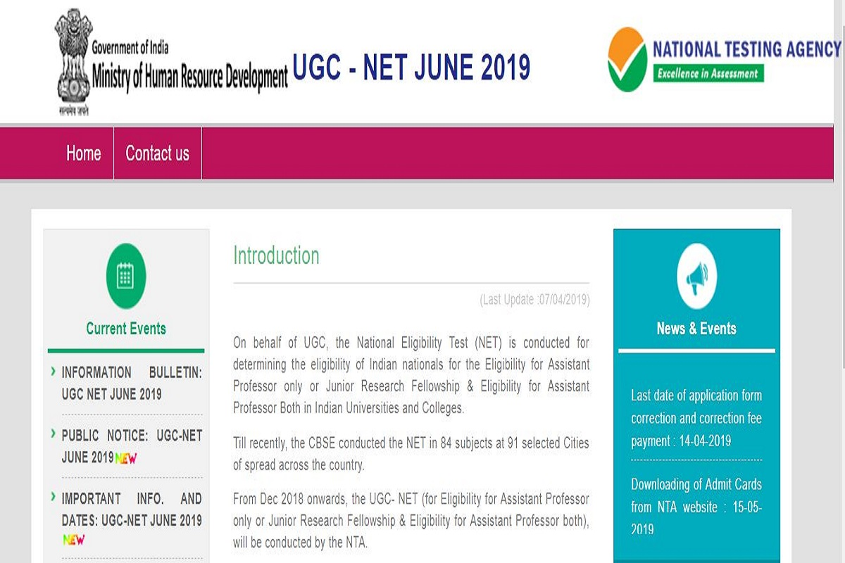 NTA UGC NET form correction, National Testing Agency, ntanet.nic.in, UGC NET 2019 form correction,