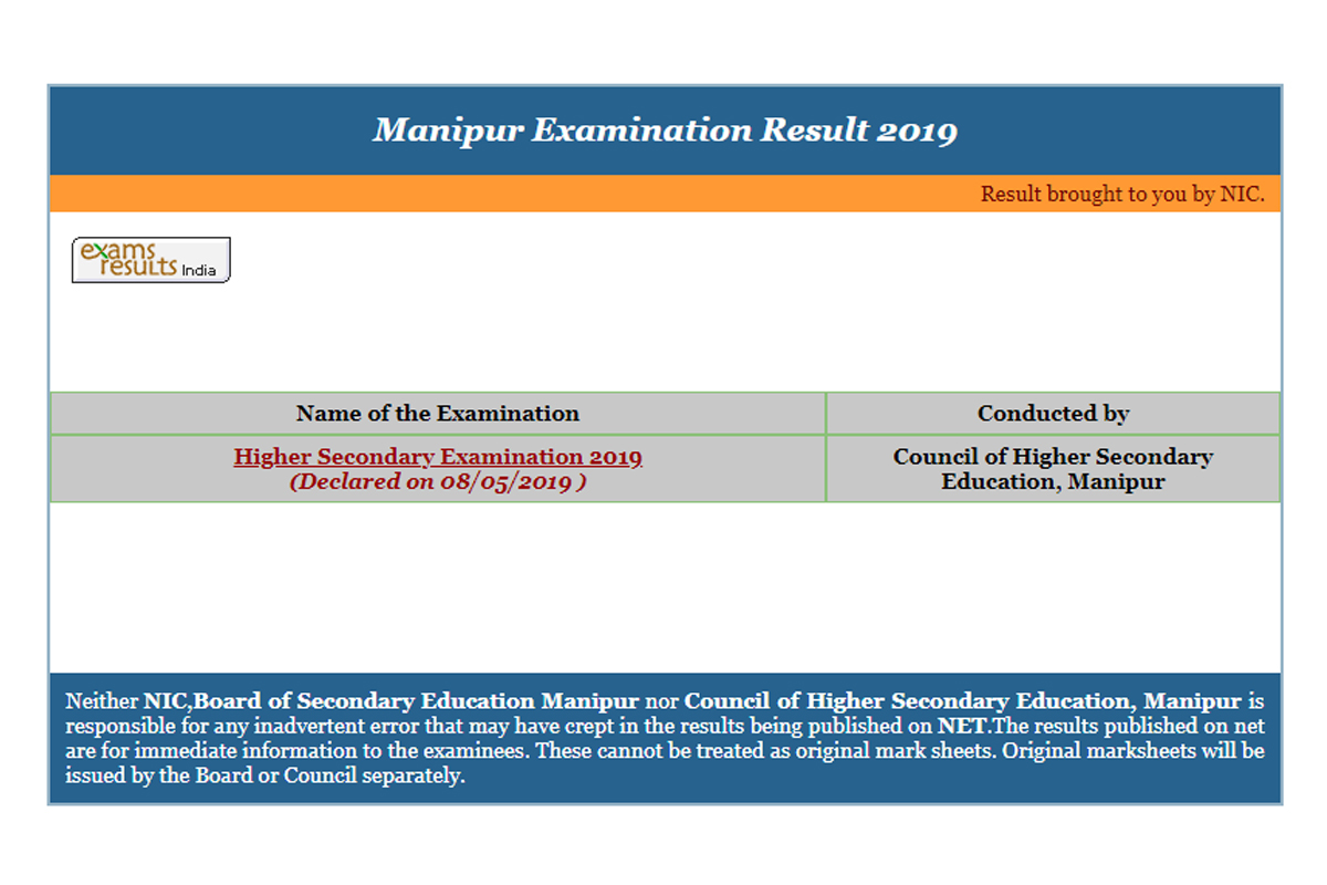 Class 12 results 2019, Manipur Board results 2019, Manipur Class 12 results 2019, manresults.nic.in, COHSEM, Manipur HSE results 2019