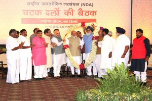 Massive show of strength at NDA meet ahead of results, allies express faith in PM Modi