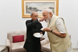 Narendra Modi meets former President Pranab Mukherjee