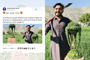 Afghan fan makes Cricket World Cup trophy with grass, wins internet