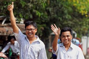 Two Reuters journalists freed from Myanmar prison reunite with families