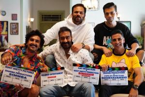 Sooryavanshi shooting begins; Ajay Devgn, Ranveer Singh and Akshay Kumar pose from Day One set
