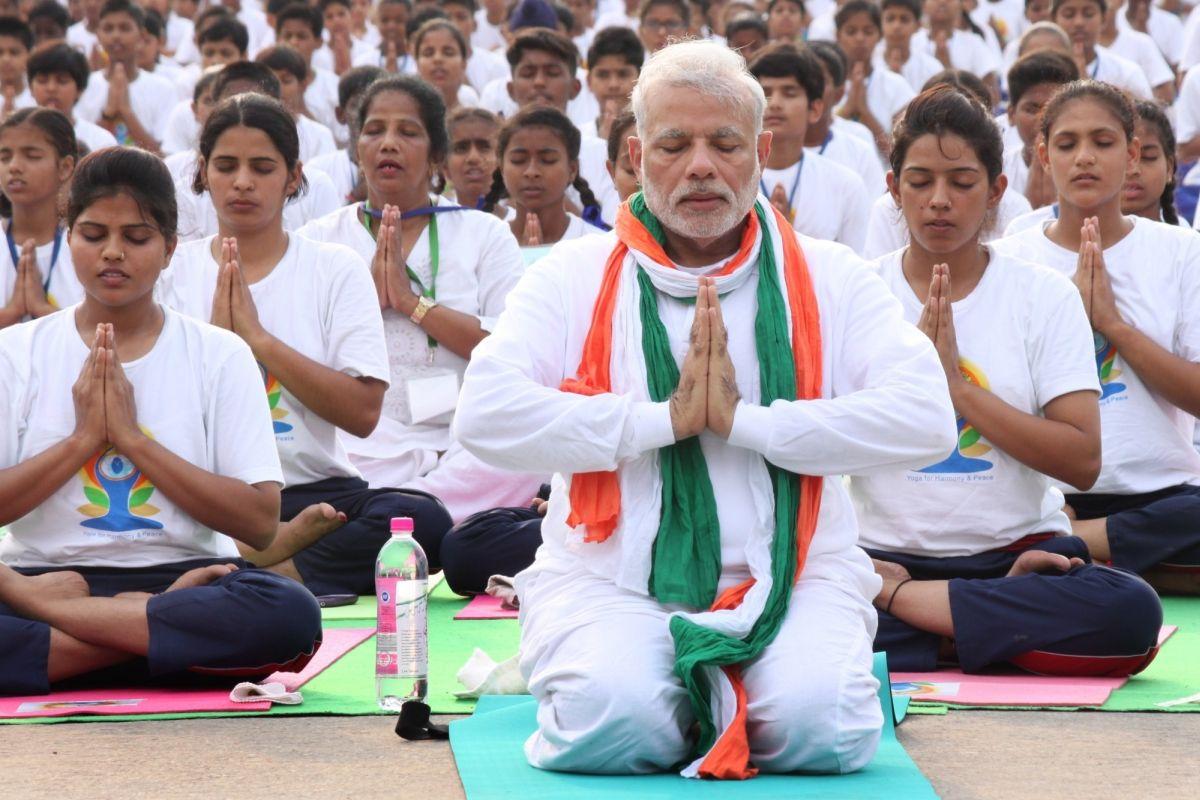 Prime Minister Narendra Modi, Yoga Day, Vakrasana