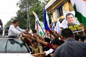 Huge reception for Congress chief Rahul Gandhi at Wayanad