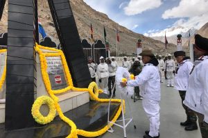 Defence Minister Rajnath Singh pays tribute to soldiers at Siachen