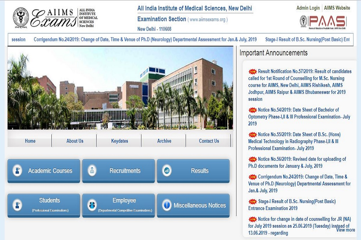AIIMS MBBS results 2019, All India Institute of Medical Sciences, AIIMS MBBS results , AIIMS MBBS 2019 results, aiimsexams.org