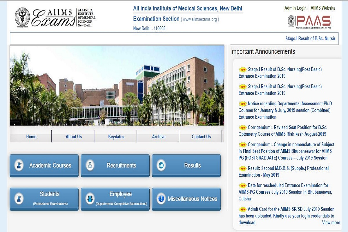 AIIMS results 2019: B.Sc. Nursing Stage I results declared at aiimsexams.org, direct link here