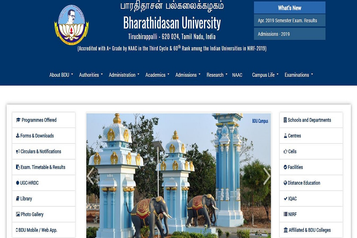 Bharathidasan University UG/PG results 2019 declared at bdu ac in
