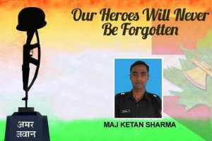 Rajnath Singh pays tributes to Major Ketan Sharma