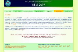 NEST results 2019 to be announced today at nestexam.in | Steps to check results here