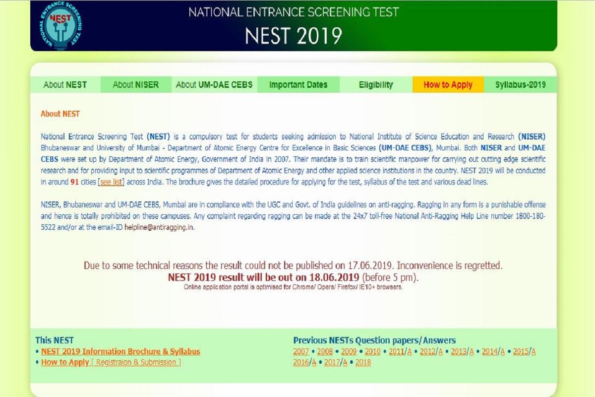 NEST results 2019, National Entrance Screening Test results 2019, nestexam.in, NEST results