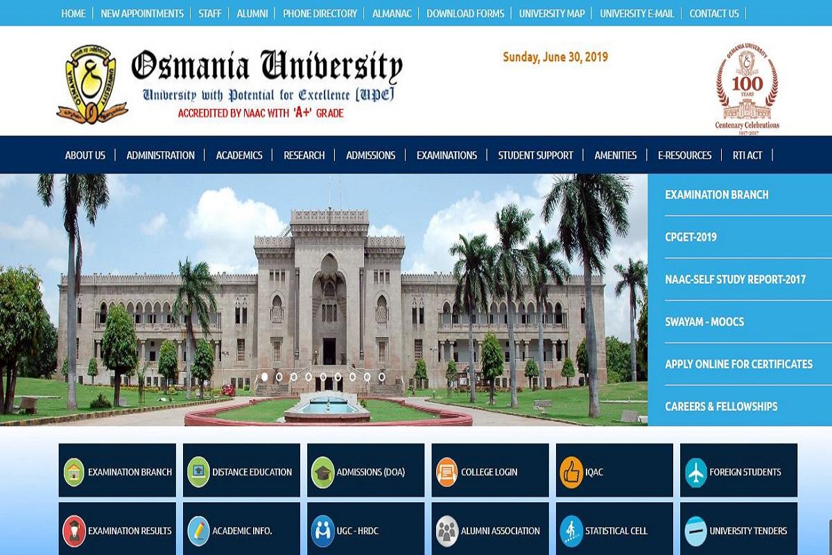 Osmania University UG results 2019, Osmania University UG results, Osmania University, Osmania University results, osmania.ac.in