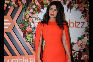 Priyanka makes a style statement in fiery orange dress