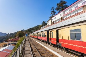 Seven-coach glass-enclosed vistadome train on Kalka-Shimla route