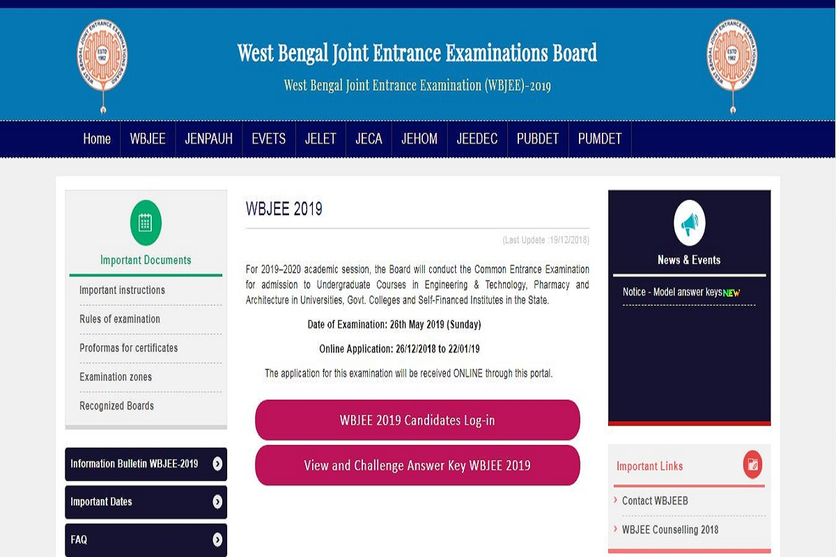WBJEE answer keys 2019, West Bengal Joint Entrance Examination, West Bengal Joint Entrance Examinations Board, WBJEE answer keys, wbjeeb.nic.in