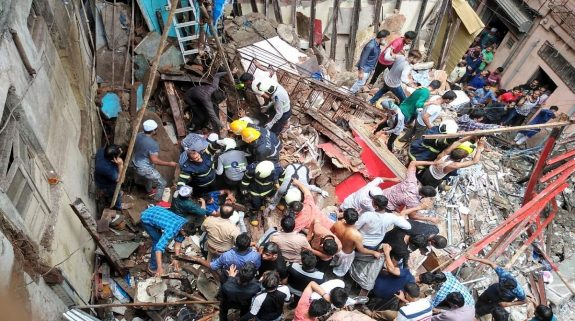 2 dead, over 40 feared trapped as 100-year-old building collapses in Mumbai's Dongri