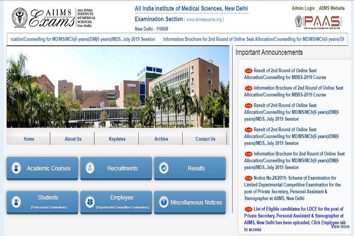 AIIMS MBBS 2019: Second allotment results released at aiimsexams.org, direct link to check list here