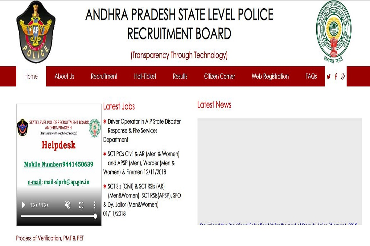 AP Police releases the final merit list 2019 for SI and Jailor posts