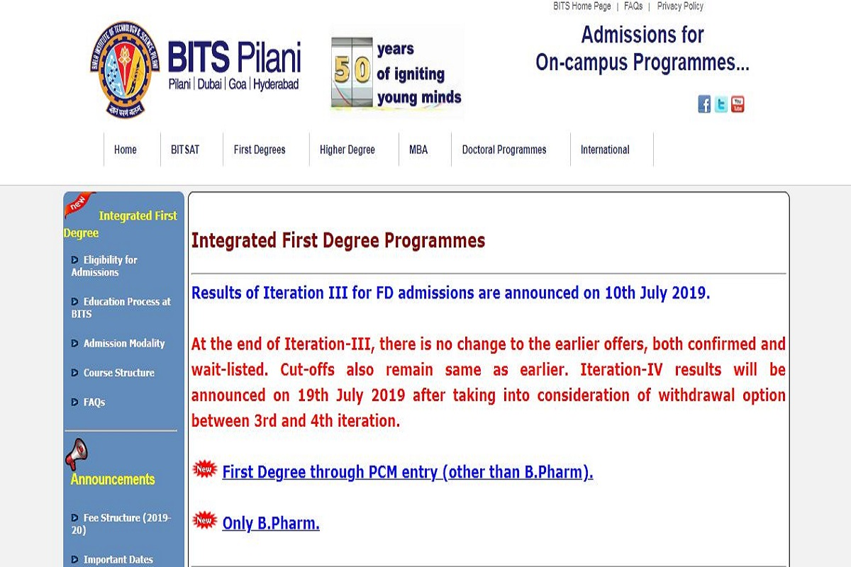 BITSAT FD programme results 2019, Birla Institute of Technology & Science, bitsadmission.com, BITSAT results 2019