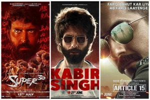 Box office collections of Article 15, Kabir Singh and Super 30