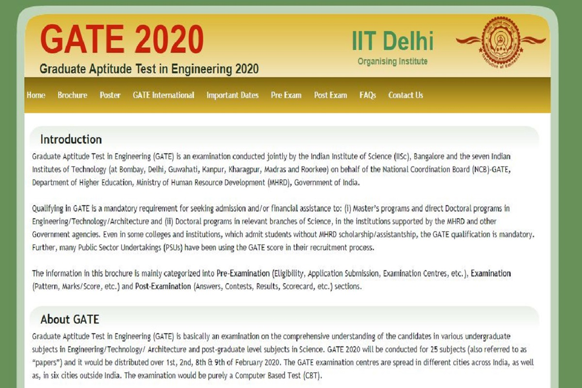 GATE 2020, GATE 2020 important dates, Graduate Aptitude Test in Engineering exam, IIT Delhi, gate.iitd.ac.in, GATE 2020 exam schedule